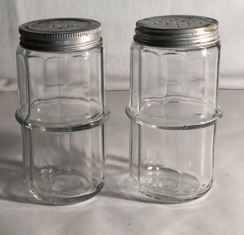"""2 Sneath Glass Paneled 4 1/2"""" Hoosier Spice Shakers With Lids"""