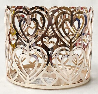 1 Bath Body Works ROSE GOLD HEART CUTOUT Large Candle Holder 3-Wick 14.5 oz ()