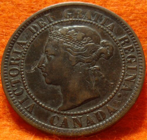 1884 XF High Grade CANADA LARGE CENT Victoria COIN NoRes CANADIAN