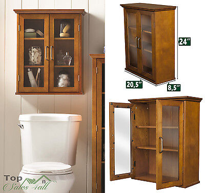 Bathroom Linen Wall Cabinet Wood Shelves Storage Organizer Towel Rack Furniture