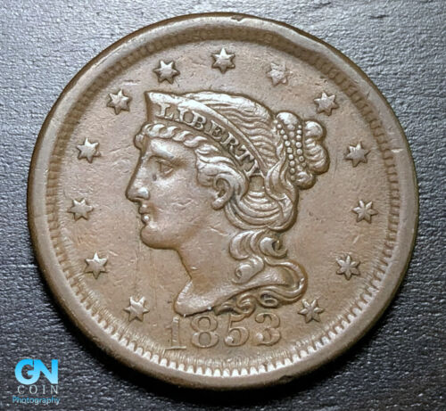 1853 Braided Hair Large Cent --  MAKE US AN OFFER!  #B3309