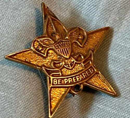 BSA Boy Scout Vintage Star Scout Gold Filled Pin Be Prepared