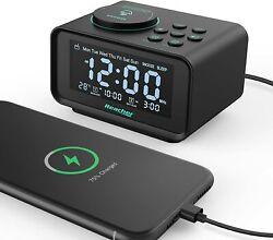 REACHER Small Digital Alarm Clock Radio with 2 USB Charging Ports Black