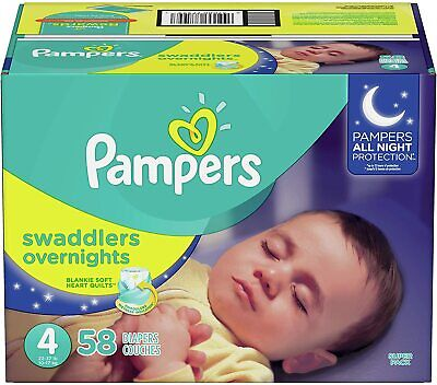 Diapers Size 4, 58 Count - Pampers Swaddlers Overnights Disposable Baby Diapers