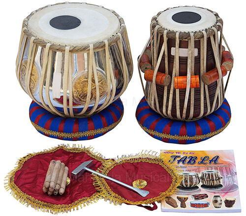 Tabla Set by SAI Musicals, Om Brass Bayan 2.5Kg, Sheesham Dayan Tabla, Nylon Bag