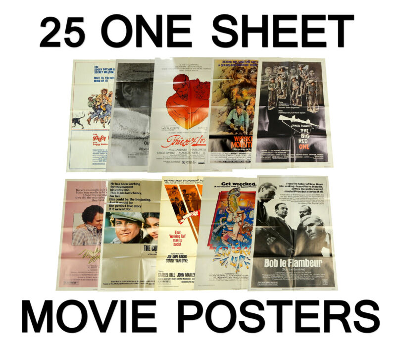 Lot of (25) Randomly Selected Vintage One Sheet Theatrical Movie Posters 27x41