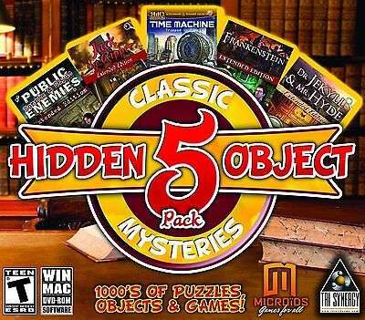 Computer Games - Hidden Object Classic Mysteries 5 Game Pack PC Games Windows 10 8 7 XP Computer