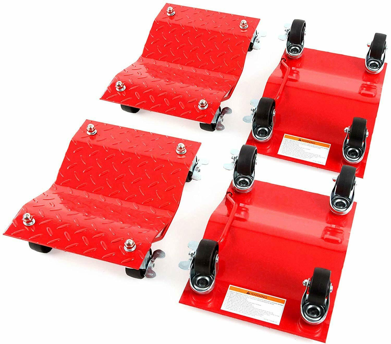 4 - Red 12 Inches Tire Premium Skates Wheel Car Dolly Ball Bearings Skate Makes