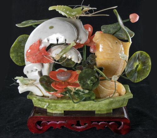 Large Vintage Chinese Carved Semi Precious Stone Aquatic Life # 3978
