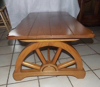 Mid Century Solid Oak Wagon Wheel Coffee Table  (CT199) (Oak Wagon Wheel)