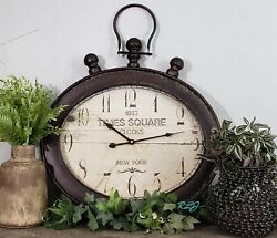 Rustic Vintage Antique Oval Metal Pocket Watch Design Wall Clock Art Home Decor