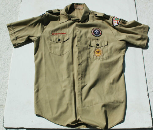 Boy Scouts BSA     Tan official shirt with patches !!!!!!!!!!!!!