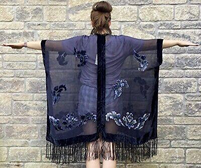 * JAYLEY * Women's SILK Devore Tasseled KIMONO Jacket Chic Beach Wear ONE SIZE