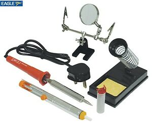 soldering iron tool kit set stand sponge desolder pump solder wire magnifier gc ebay. Black Bedroom Furniture Sets. Home Design Ideas