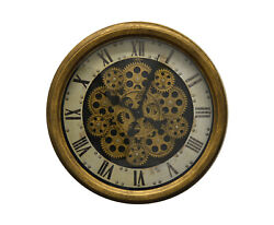 Vintage Steampunk Style Black & Gold Metal Skeleton Wall Clock with Moving Gears