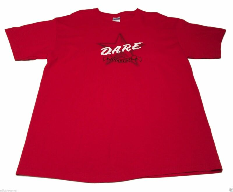 (L) D.A.R.E Graduate Resist Drug Abuse Violence Red Shirt 80s Retro School