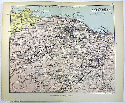 Philips 1882 Map of The Environs of Edinburgh Scotland by J. Bartholomew