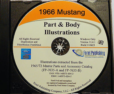 1966 Ford Mustang Illustrated Exploded View Parts And Illustrations Manual Cd