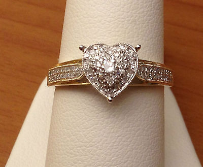14k Yellow Gold Heart Halo Antique Vintage Style Diamond Engagement Promise Ring
