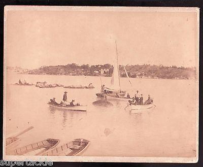 "c1900 ? 8"" x 10"" original sepia  Lake @ Smith's Island. Boats, net fishing"