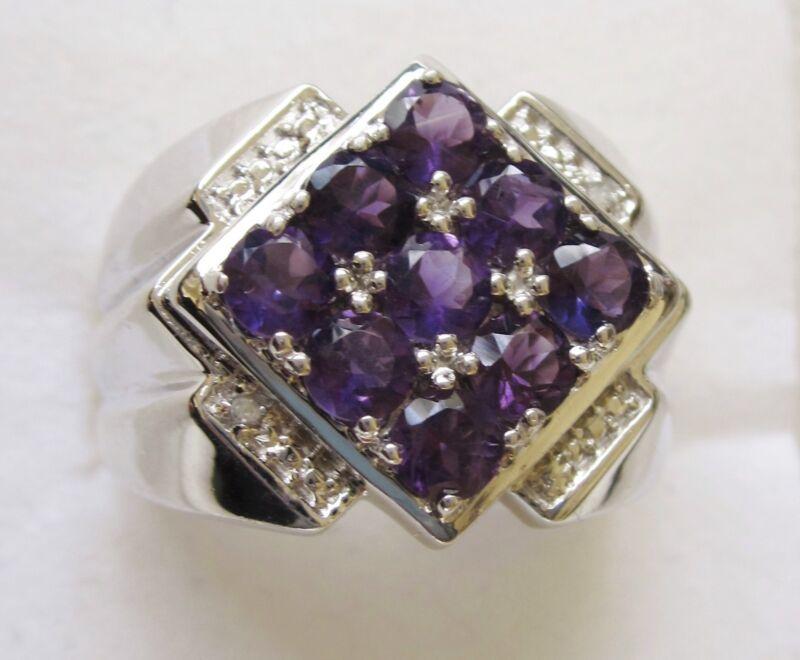 Men's Amethyst & Diamond Ring in Sterling Silver, sz 12