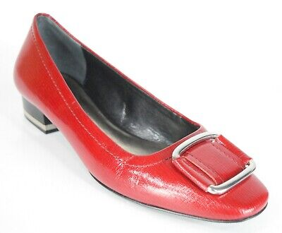 Ann Taylor Red Patent Leather Size 6.5 (M) Block Heel Buckle Flats