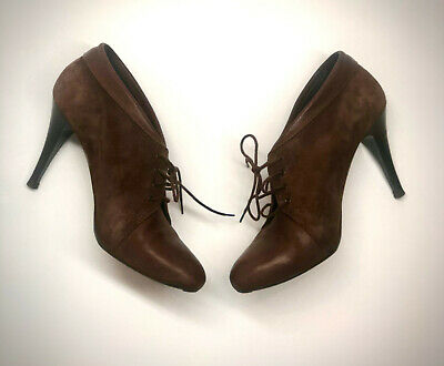 J Crew Sz 8 Brown Suede Leather Booties High Heels Lace Ankle boots Italy 32809