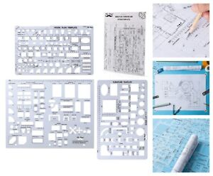 Architectural Templates House Plan Interior Design Geometry Drafting Ruler Tools