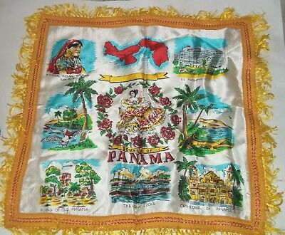 - Panama Pillow Cover Souvenir Fringe Ends Gatun Locks Map Cathedral Ruins