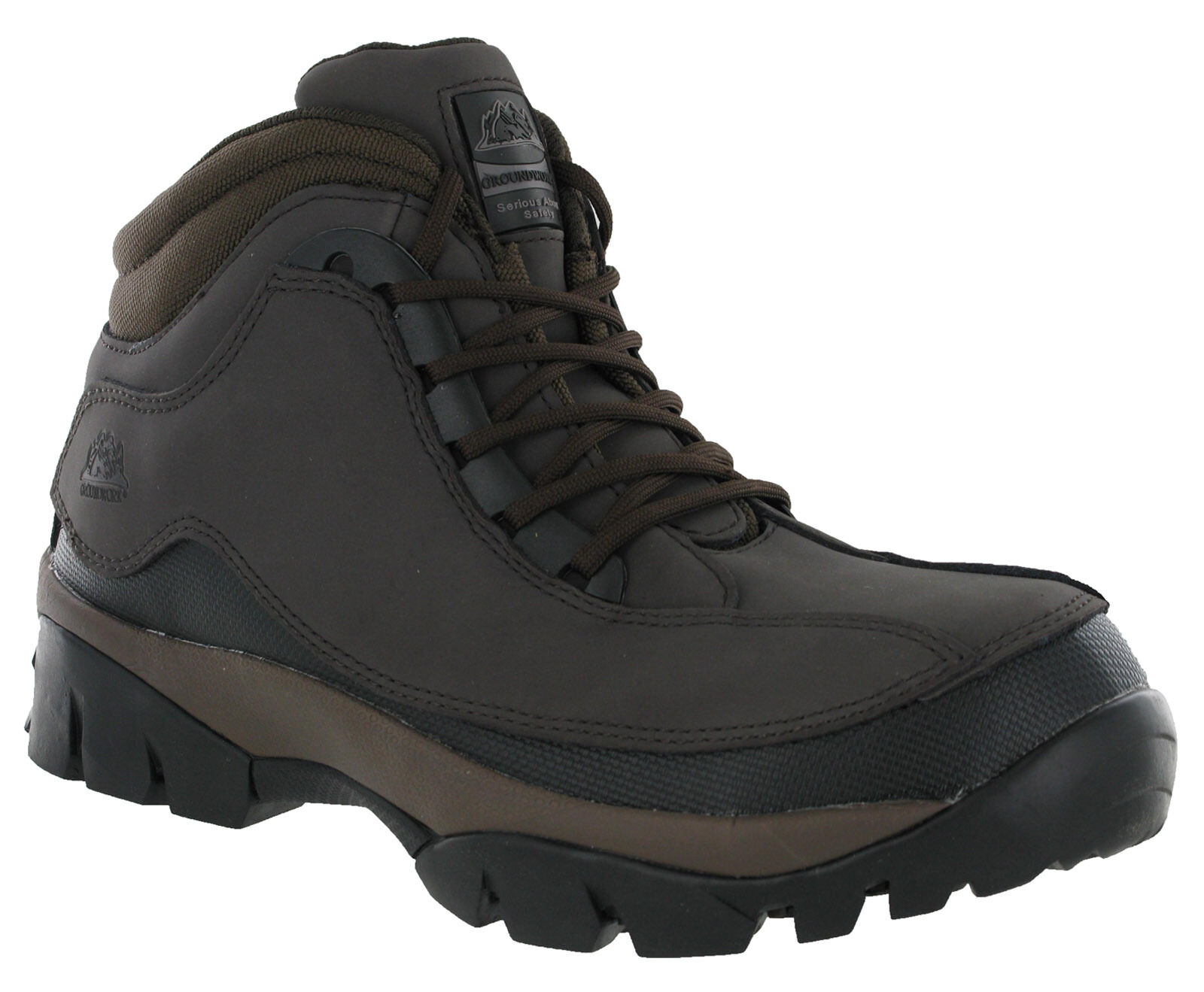Groundwork Brown Safety Boots Steel Toe Cap Mens Work Industrial Lace Up Shoes