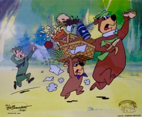 YOGI BEAR & BOO BOO RANGER SMITH Sericel Animation Art Cel by Hanna Barbera