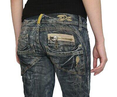 Damen Jeans Hose Denim Stoff Bootcut Grau Wash Hüfthose Decon-Cassie 1420- Wash Denim Hose