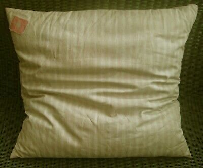 ANTIQUE / VINTAGE BEIGE CREAM TICKING FEATHER CUSHION PILLOW - FRANCE