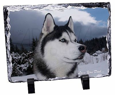 Siberian Husky 'Love You Dad' Photo Slate Christmas Gift Ornament, DAD-49SL