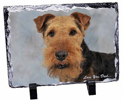 Welsh Terrier Dog 'Love You Dad' Photo Slate Christmas Gift Ornament, DAD-136SL