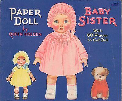 VINTGE UNCUT 1929 BABY SISTER  PAPER DOLL ~13 PG WHITMAN ORG SIZE~LASR REPRODCTN
