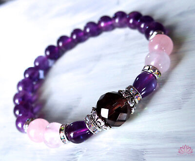 Smoky quartz, amethyst and rose quartz bead bracelet with crystals harmony love