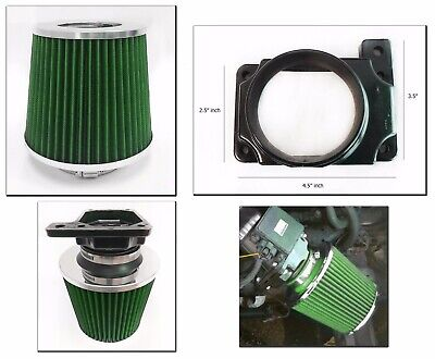 Mitsubishi Green Air Filter (Green Cold Air Intake Filter + MAF Adapter For 01-05 Dodge Stratus 2.4 L4 3.0)