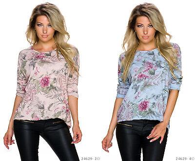 Damen Langarm Longshirt Oberteil Tunika Peplum Top Bluse Blumen Vokuhila S M NEU ()