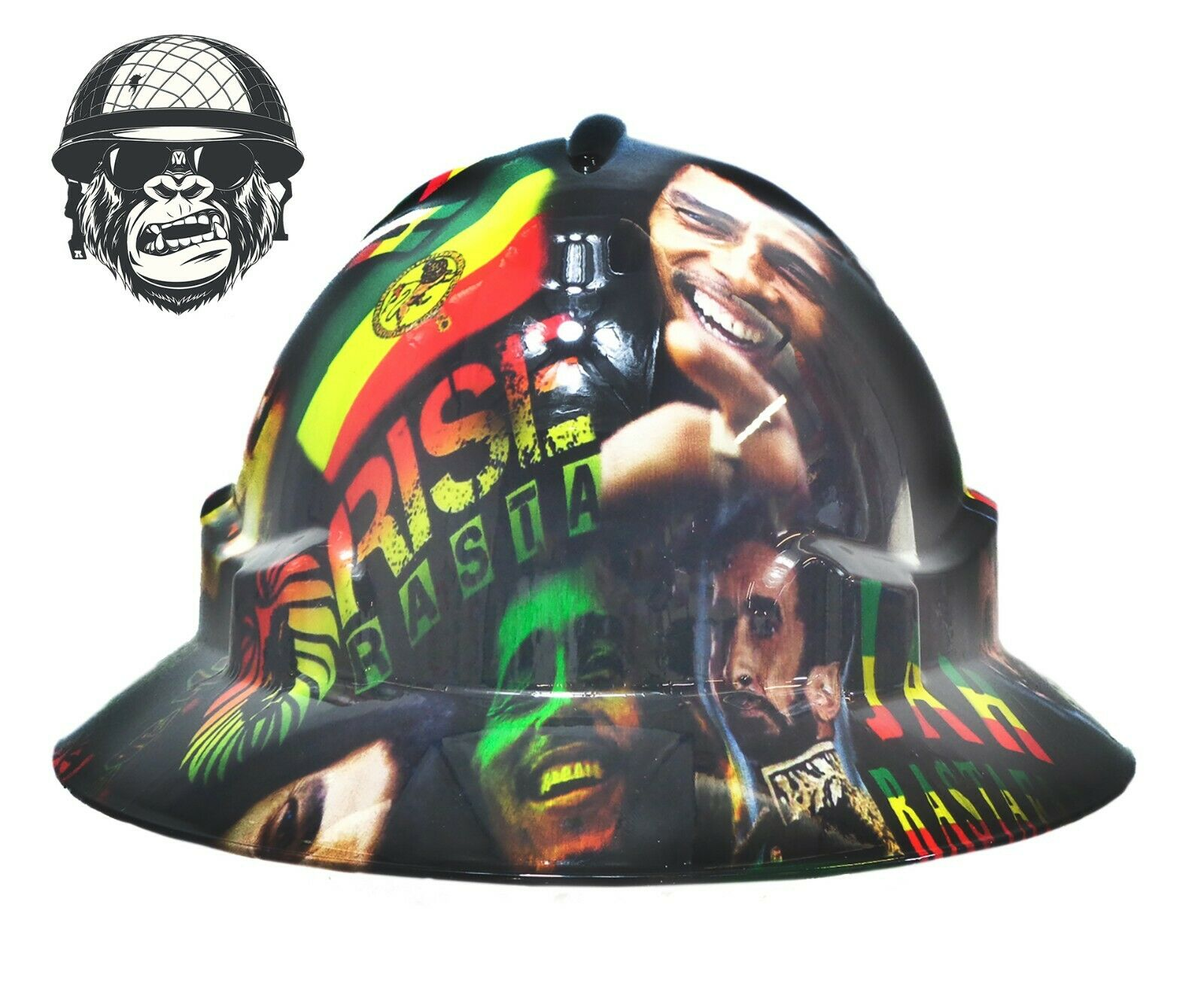 Custom hydrographic wide brim safety hard hat rasta BOB MARLEY WIDE