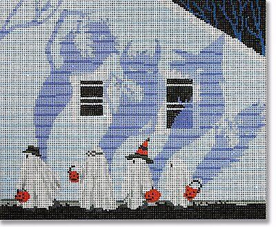 (NEEDLEPOINT Handpainted Canvas HALLOWEEN Scott Church Candy Monster)