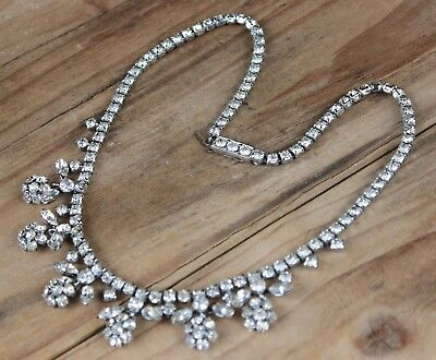 60s -70s Jewelry – Necklaces, Earrings, Rings, Bracelets Vintage Necklace Rhinestone Dangle Drop Articulated 1960s Rhinestone Retro 50s $40.08 AT vintagedancer.com