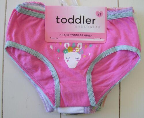 Toddler Girls 7 Pack 100% Cotton Brief Unicorn Theme Underwear Sz 2T