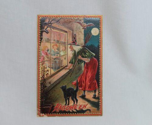 Vintage Raphael Tuck 160 Halloween Postcard Witch in Window - 80758