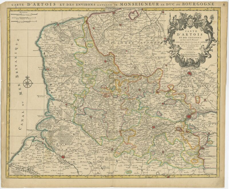 Antique Map of the Region of Artois by Covens & Mortier (c.1730)