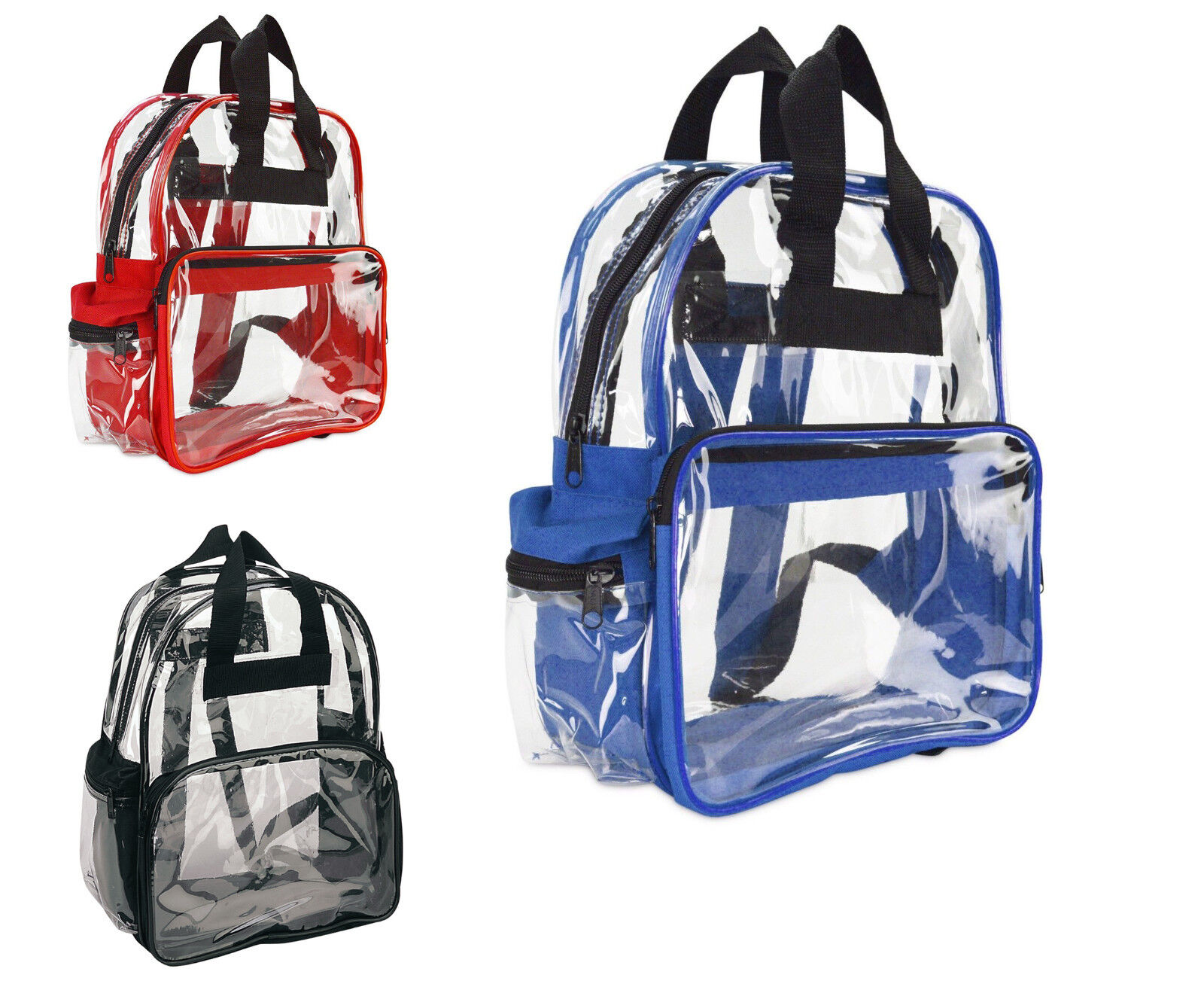 Excursions Bag Unisex Transparent School Security Clear Backpack Book Bag Red Royal