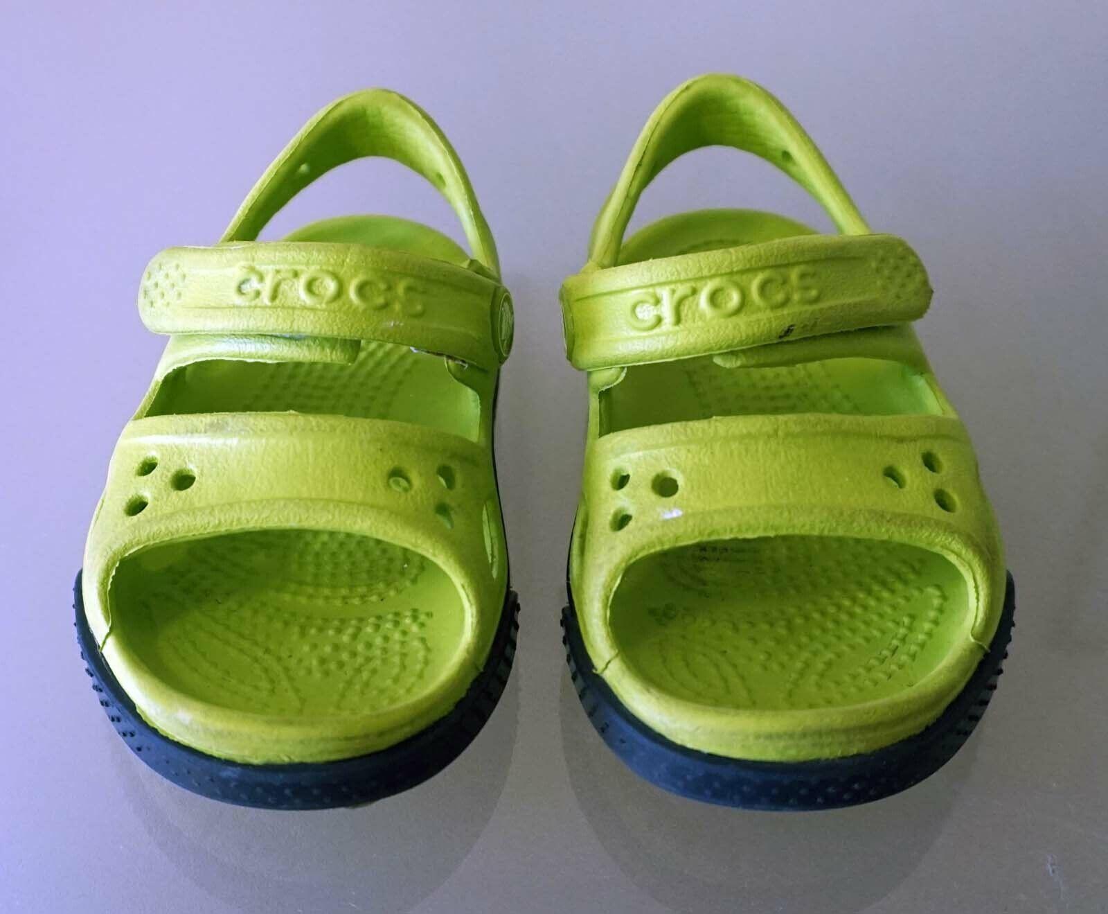 Crocs Kinder Sport Freizeit Sandale Schuhe C4 19/20 12cm grün weis