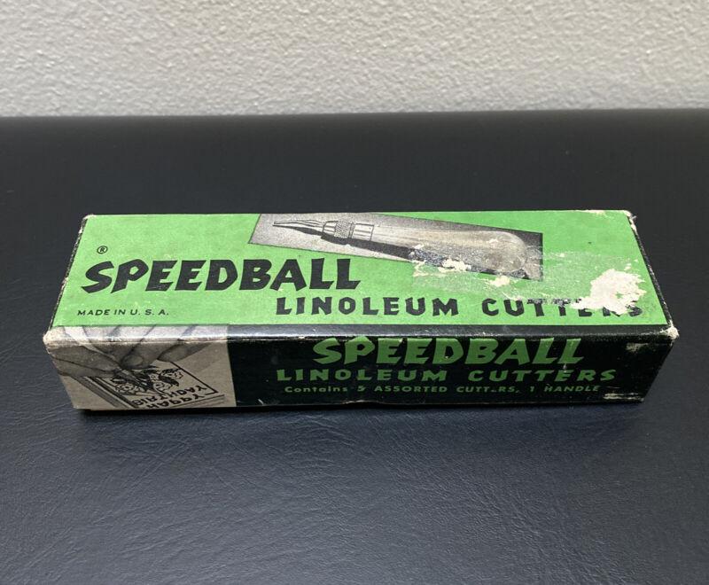 Vintage Speedball Linoleum Cutter Original Box No. 1 w/ Box of 5 Cutters
