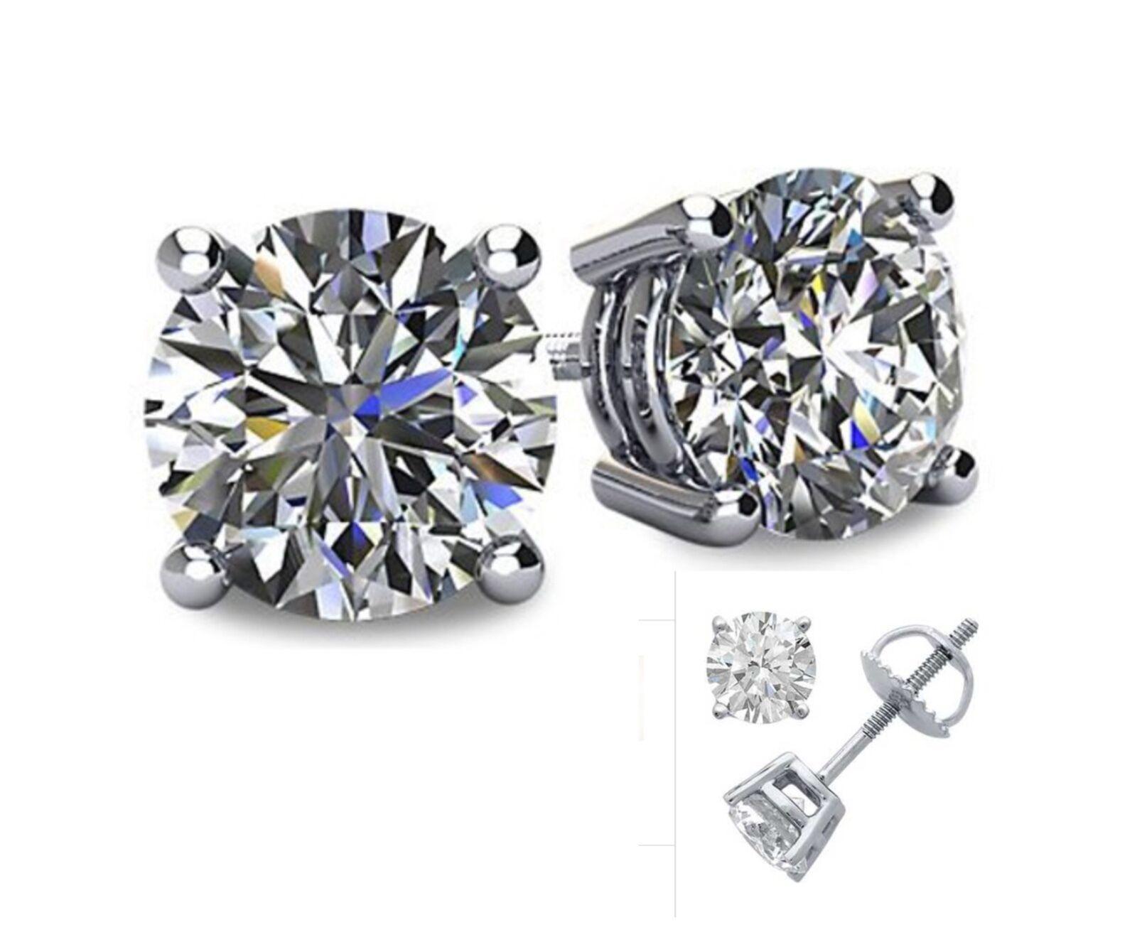 $24.99 - 1CT Lab Created Diamond 14K White Gold Round Cut Screw-Back Stud Earrings
