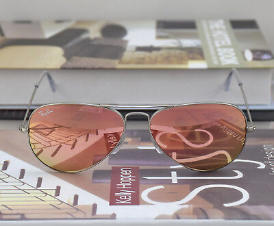 Ray Ban Sunglasses RB3025 019/Z2 Matte Silver Frame Pink Copper Mirror lens (Pink Rayban)